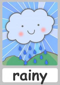 umbrella rain cue card